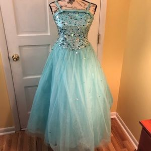Blue Pageant Dress with sequins • Tiffany Designs